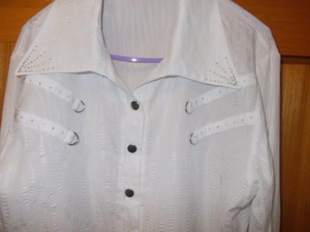 Блузка рубашка детская на лет 10-12 белая на кнопках,плечи-39см,пог-45см..длинна. Полтава, Полтавская область. фото 5