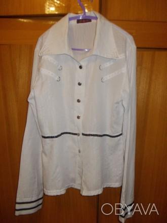 Блузка рубашка детская на лет 10-12 белая на кнопках,плечи-39см,пог-45см..длинна. Полтава, Полтавская область. фото 1