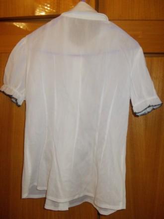Блузка рубашка детская светлая на 6-7лет черные пуговки,в хорошем состоянии,плеч. Полтава, Полтавская область. фото 5