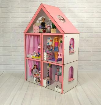 Крашеный кукольный домик Большой Особняк Барби, с мебелью и текстилем. Харьков. фото 1