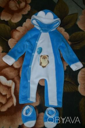 Тепленький комбинезончик на мальчика от 0 до 3 мес. с пинетками. Одевали пару ра. Запорожье, Запорожская область. фото 1