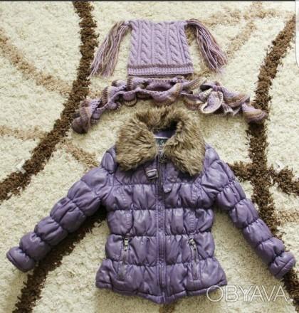 Шапка и шарф в подарок, флисовая подкладка чуть закошлачена, видно на фото. Мелитополь, Запорожская область. фото 1
