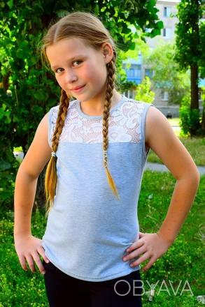 Красивая блуза для девочки, украшена вставкой из нежного кружева. Прекрасный вар. Горишные Плавни, Полтавская область. фото 1