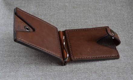 Кожаный кошелек/зажим для купюр из натуральной кожи - юфть шорно-седельная рыжег. Кролевец, Сумская область. фото 5