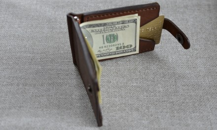 Кожаный кошелек/зажим для купюр из натуральной кожи - юфть шорно-седельная рыжег. Кролевец, Сумская область. фото 3