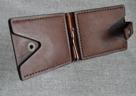 Кожаный кошелек/зажим для купюр из натуральной кожи - юфть шорно-седельная рыжег. Кролевец, Сумская область. фото 7