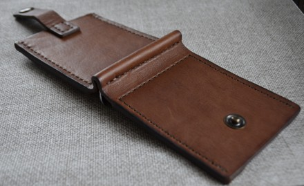 Кожаный кошелек/зажим для купюр из натуральной кожи - юфть шорно-седельная рыжег. Кролевец, Сумская область. фото 6