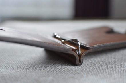 Кожаный кошелек/зажим для купюр из натуральной кожи - юфть шорно-седельная рыжег. Кролевец, Сумская область. фото 9