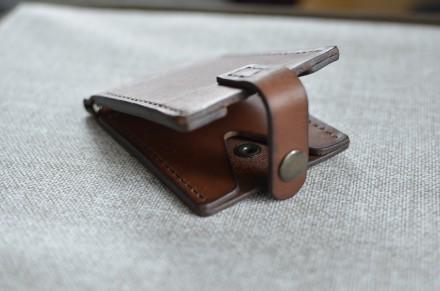 Кожаный кошелек/зажим для купюр из натуральной кожи - юфть шорно-седельная рыжег. Кролевец, Сумская область. фото 4