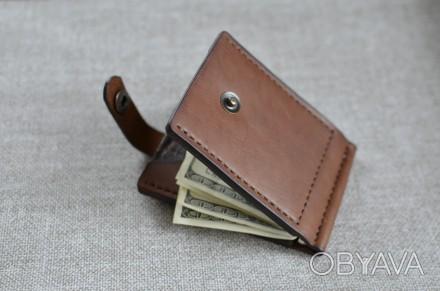 Кожаный кошелек/зажим для купюр из натуральной кожи - юфть шорно-седельная рыжег. Кролевец, Сумская область. фото 1