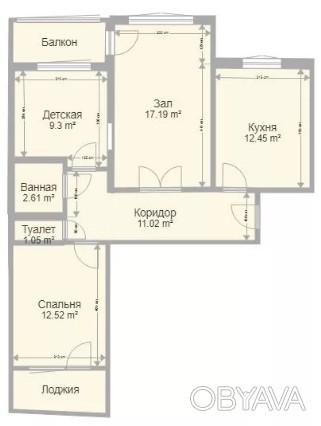 Продам 3-х комнатную квартиру  в районе 3х штыков, площадь 71/39/12 м2, 8-й этаж. Таврический, Херсон, Херсонская область. фото 1
