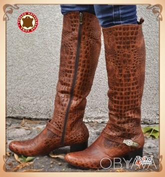 код: 37 Сапоги рептилия Материал: натуральная кожа Высота каблука 5 см. Высота с. Винница, Винницкая область. фото 1