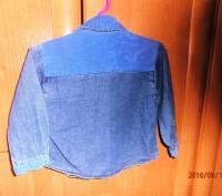 Классная джинсовая рубашка для модняшки с вельветовыми вставочками. Размер 86, 1. Черкассы, Черкасская область. фото 3