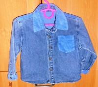 Классная джинсовая рубашка для модняшки с вельветовыми вставочками. Размер 86, 1. Черкассы, Черкасская область. фото 2
