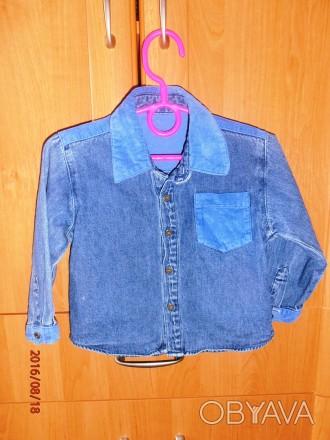 Классная джинсовая рубашка для модняшки с вельветовыми вставочками. Размер 86, 1. Черкассы, Черкасская область. фото 1
