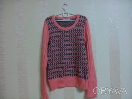 свитер вязаный на девочку абрикосового цвета, впереди и сзади по спинке -рисунок. Энергодар, Запорожская область. фото 1