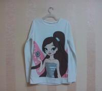футболка белая с принтом, длинный рукав на девочку 9-12 лет. Энергодар. фото 1