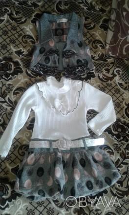 Продам новый костюм: платье и жилет на девочку модницу возрастом 2-3 года (рост . Сєверодонецьк, Луганська область. фото 1