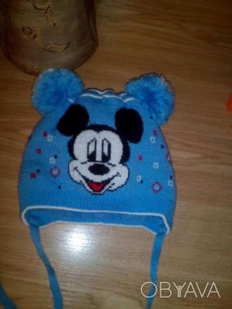 Продам шапочку с Микки Маусом.Двойная вязка. Подойдет как мальчику так и девочке. Черкассы, Черкасская область. фото 1