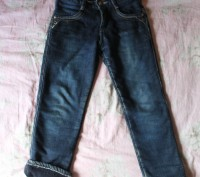 Теплые джинсы на флисовой подкладке на мальчика,на рост 116 см.Длина штанины по . Киев, Киевская область. фото 2