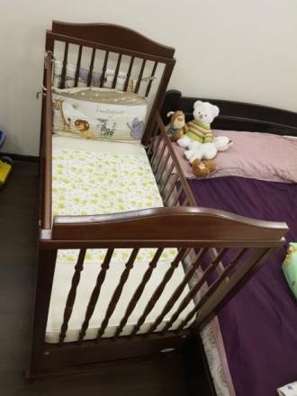 Детская кроватка Baby Italia, выполнена из бука в коричневом цвете. Размер спаль. Киев, Киевская область. фото 6