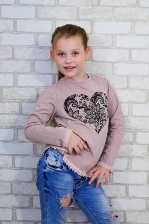 """Блуза для девочки """" Сердце""""  Выполнена из однотонной фуликры ,с рисунком в вид. Горишные Плавни, Полтавская область. фото 4"""
