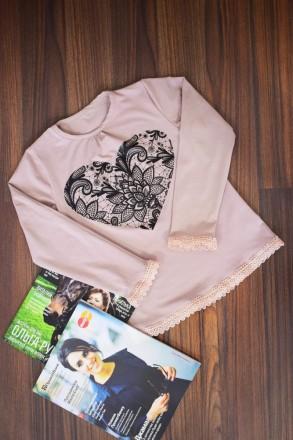 """Блуза для девочки """" Сердце""""  Выполнена из однотонной фуликры ,с рисунком в вид. Горишные Плавни, Полтавская область. фото 5"""