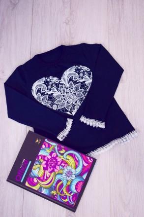 """Блуза для девочки """" Сердце""""  Выполнена из однотонной фуликры ,с рисунком в вид. Горишные Плавни, Полтавская область. фото 3"""