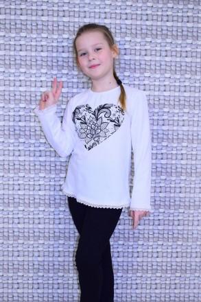 """Блуза для девочки """" Сердце""""  Выполнена из однотонной фуликры ,с рисунком в вид. Горишные Плавни, Полтавская область. фото 2"""