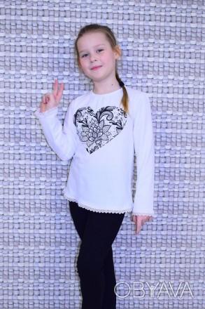 """Блуза для девочки """" Сердце""""  Выполнена из однотонной фуликры ,с рисунком в вид. Горишные Плавни, Полтавская область. фото 1"""