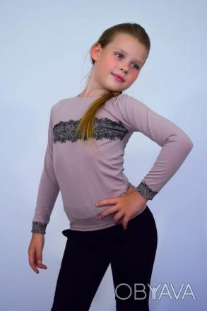 Джемпер для девочки с накатом  Комфортный джемпер из однотонной фуликры с нежн. Горишные Плавни, Полтавская область. фото 1