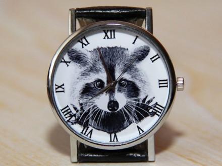 Часы енот, наручные часы, женские часы, мужские часы, часы животное.   Матери. Житомир, Житомирская область. фото 2