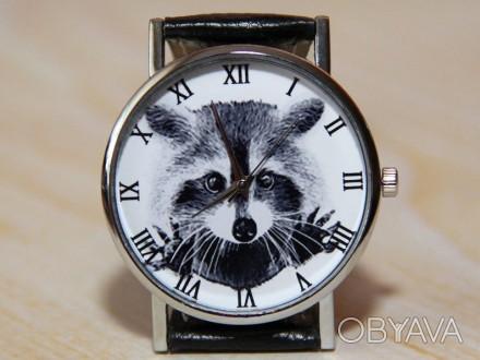 Часы енот, наручные часы, женские часы, мужские часы, часы животное.   Матери. Житомир, Житомирская область. фото 1