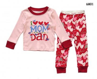 Пижама I love mom&dad; для девочки: кофта и штаны. Нежин. фото 1