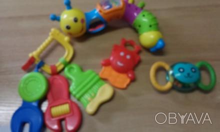 Погремушки +тренажор для прорезования зубиков у ребёнка, змейка трещалка, каждая. Киев, Киевская область. фото 1