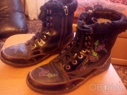 Ботинки зимние тёплые для девочки 35 размера, прошитые. По стельке-23 см. Состоя. Запорожье, Запорожская область. фото 1