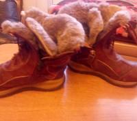 Сапожки зимние тёплые кожаные для девочки 27 размер. По стельке -17 см. Бордовог. Запорожье, Запорожская область. фото 3