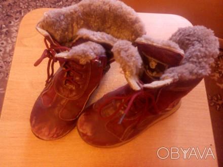 Сапожки зимние тёплые кожаные для девочки 27 размер. По стельке -17 см. Бордовог. Запорожье, Запорожская область. фото 1