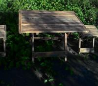 Стол складной деревянный имеет каркас из сосны, состоящий из х-образных ножек-оп. Киев, Киевская область. фото 4