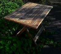 Стол складной деревянный имеет каркас из сосны, состоящий из х-образных ножек-оп. Киев, Киевская область. фото 5
