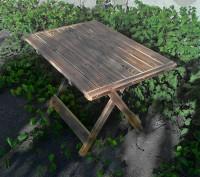 Стол складной деревянный имеет каркас из сосны, состоящий из х-образных ножек-оп. Киев, Киевская область. фото 3