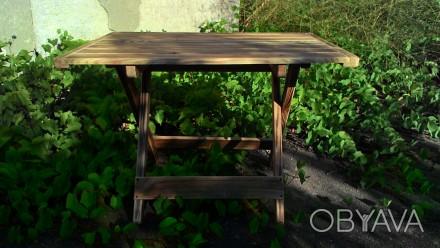 Стол складной деревянный имеет каркас из сосны, состоящий из х-образных ножек-оп. Киев, Киевская область. фото 1
