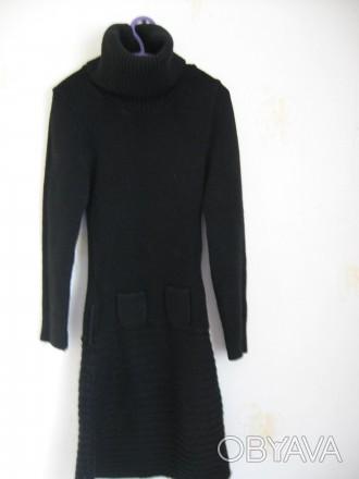 Черное вязанное платье для девочки на рост 146-152см,в хорошем состоянии,без деф. Днепр, Днепропетровская область. фото 1