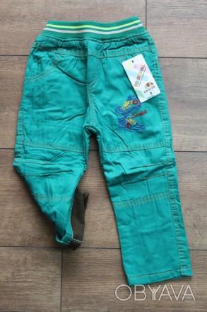 Катоновые брюки на флисе для мальчиков 1-5 лет  Цвет: зеленый! сезон осень-зим. Киев, Киевская область. фото 1