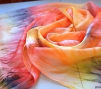 Шелковый шарф  батик ручной работы