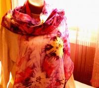 Воздушный изысканный длинный шарф из натурального шелка - эксельсиор. Выполнен с. Черкассы, Черкасская область. фото 4