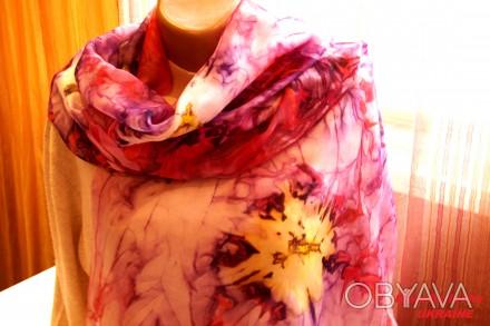 Воздушный изысканный длинный шарф из натурального шелка - эксельсиор. Выполнен с. Черкассы, Черкасская область. фото 1