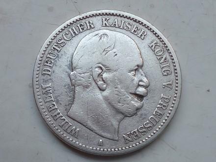 Германская империя ,Пруссия. 2 марки 1877 года, А Вильгельм 1. Серебро.оригинал.. Запорожье, Запорожская область. фото 2