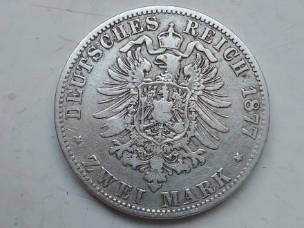 Германская империя ,Пруссия. 2 марки 1877 года, А Вильгельм 1. Серебро.оригинал.. Запорожье, Запорожская область. фото 5