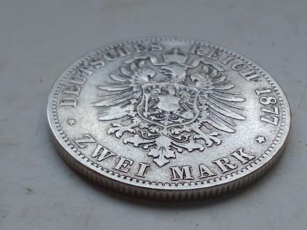 Германская империя ,Пруссия. 2 марки 1877 года, А Вильгельм 1. Серебро.оригинал.. Запорожье, Запорожская область. фото 7
